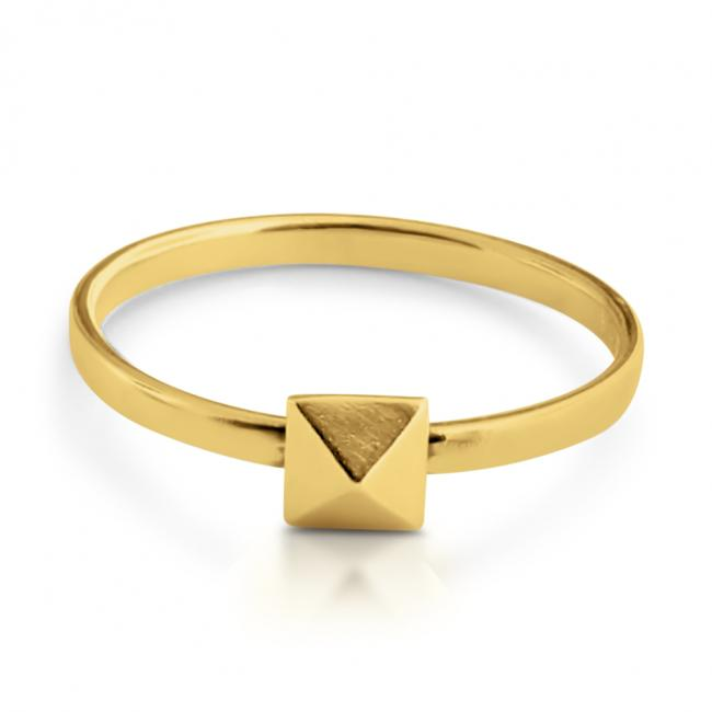 Gold plated ring Pyramid