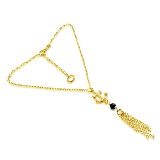 Gold plated anklet Anchor w/ Onyx Bead