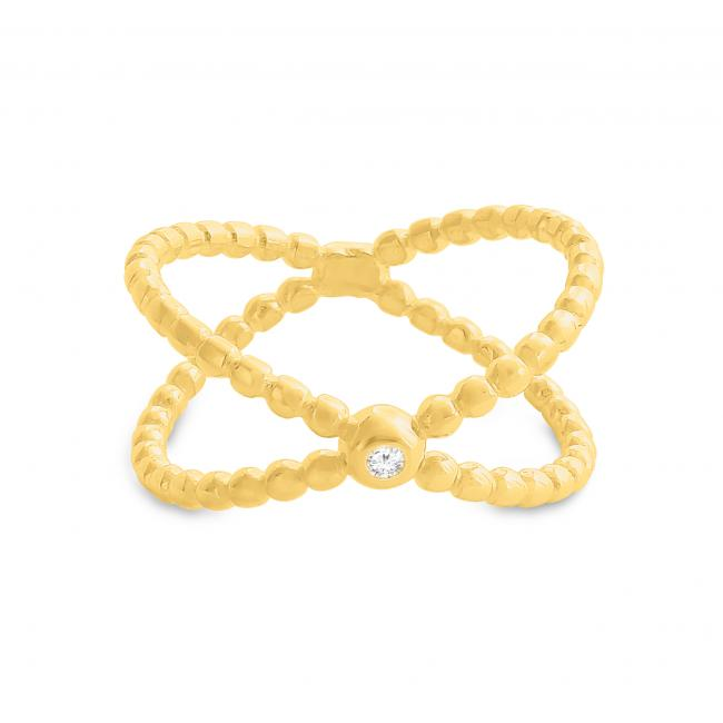 Gold plated ring Textured Wide X Criss Cross Infinity with CZ Ring