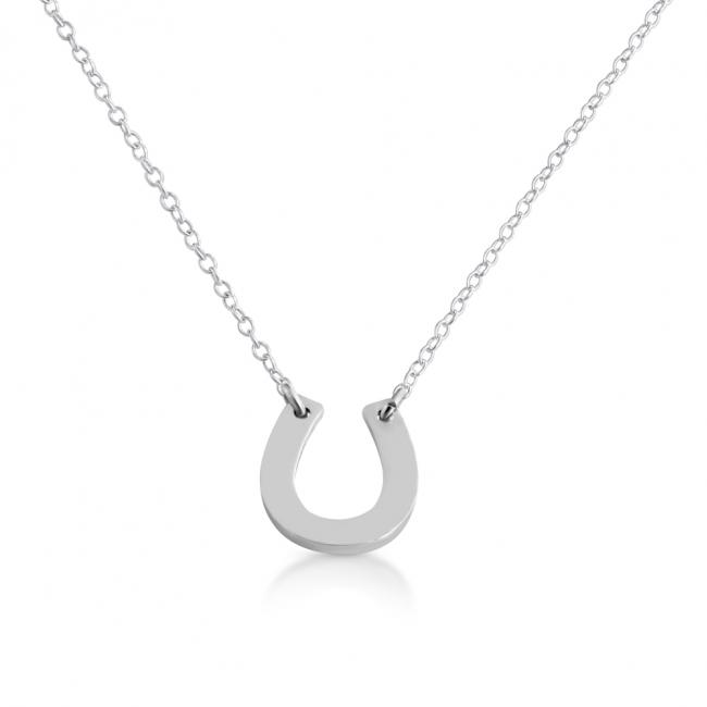 925 sterling silver necklace Simple Lucky Horseshoe Sideways