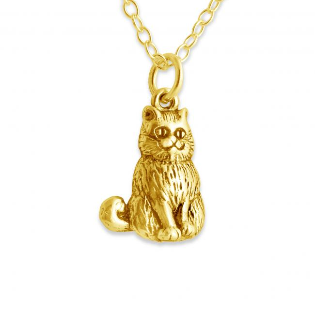 Gold plated necklace 3D Cheshire Cat of Alice in Wondeland