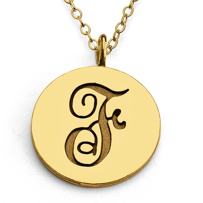 Gold plated necklace F Script Letters