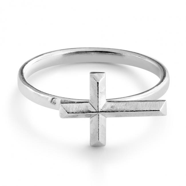 925 sterling silver ring Sideways Bevel Cross