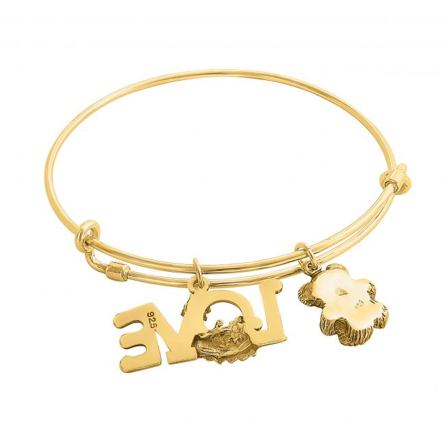 Gold plated bracelet Sweet First Love Adjustable Wire Bangle