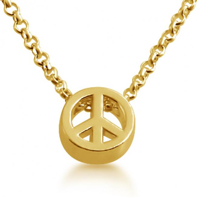 Gold plated necklace Initial Letter Peace Personalized Symbols & Letters Serif Font