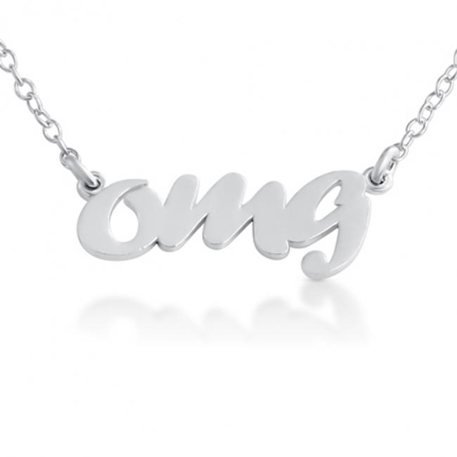 925 sterling silver necklace OMG (Script Word)