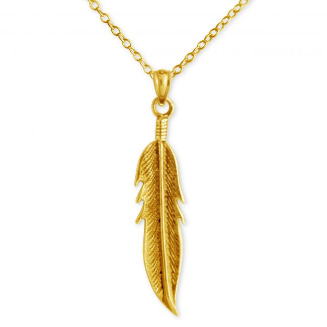 Gold plated necklace Large Feather