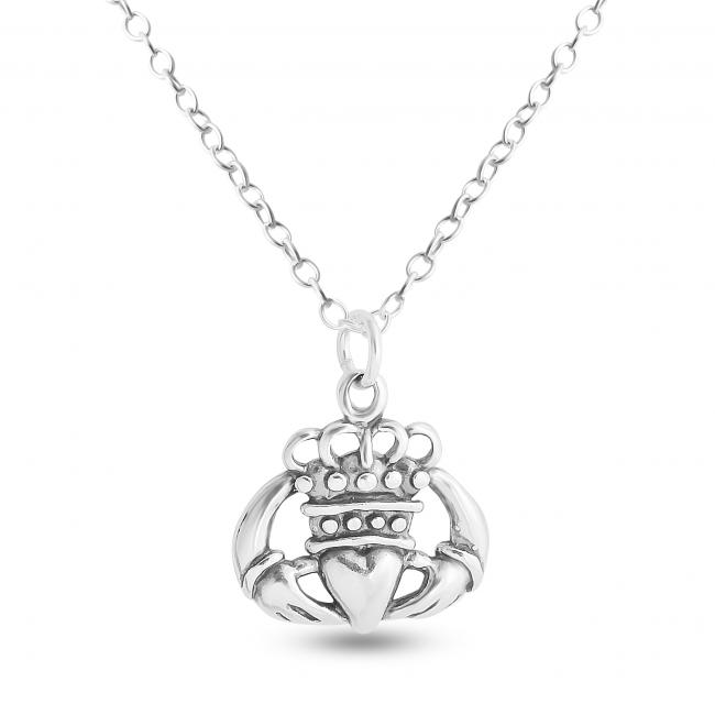 925 sterling silver necklace Hands Holding Crowned Heart Irish Claddagh