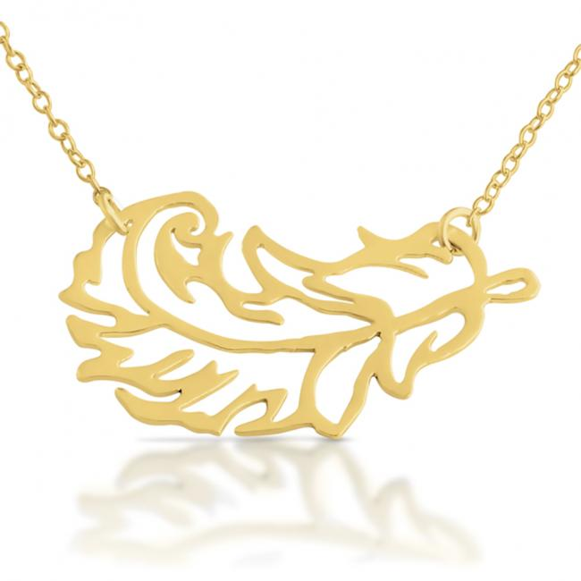 Gold plated necklace Stylized Feather Sideways
