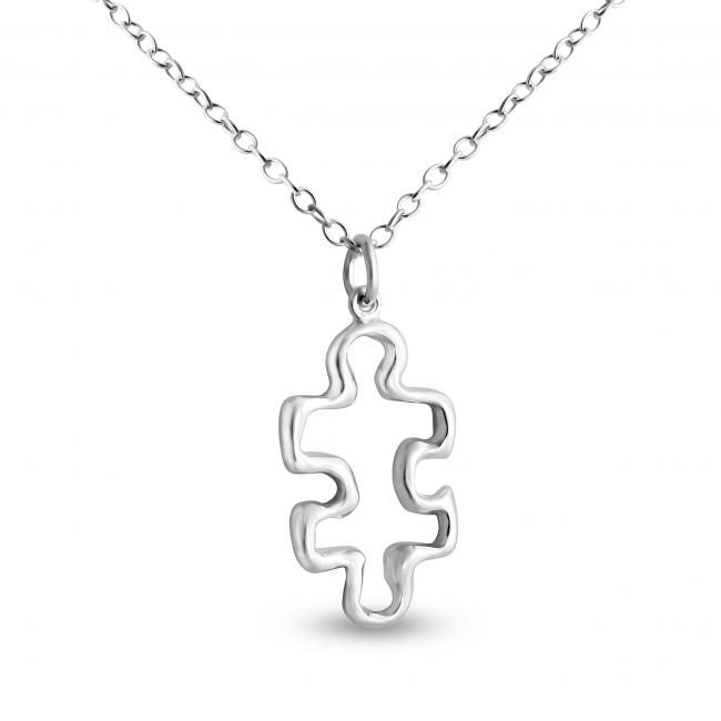925 sterling silver necklace Outlined Puzzle Piece