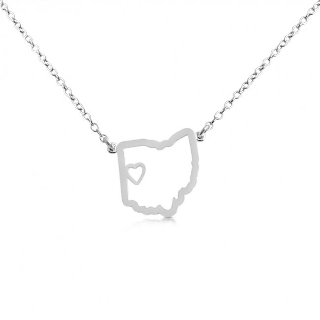 925 sterling silver necklace Ohio Home is Where The Heart Is State Necklace