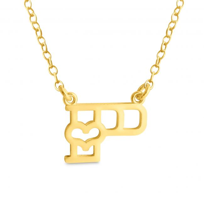 Gold plated necklace Initial Letter P with Heart Sideways