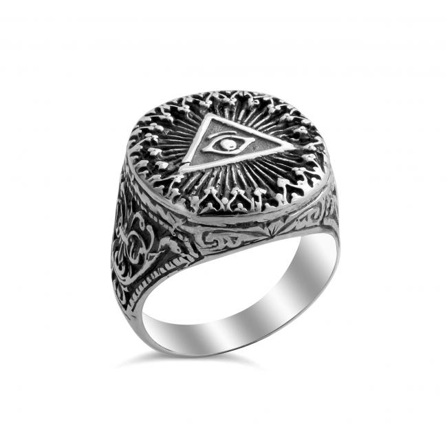 925 sterling silver ring Freemason Eye