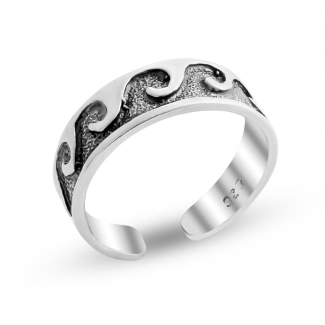 925 sterling silver ring Waves Adjustable Toe Ring