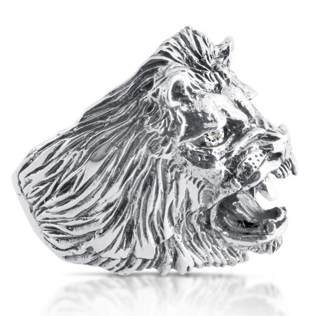 925 sterling silver ring Roaring Lion w/ 2 White CZs