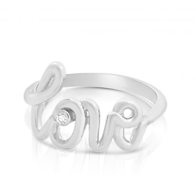 925 sterling silver ring 2mm (0.03 ct. tw) Diamond LOVE Script