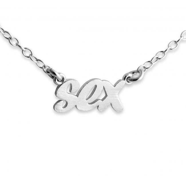925 sterling silver necklace SEX (Script Word)