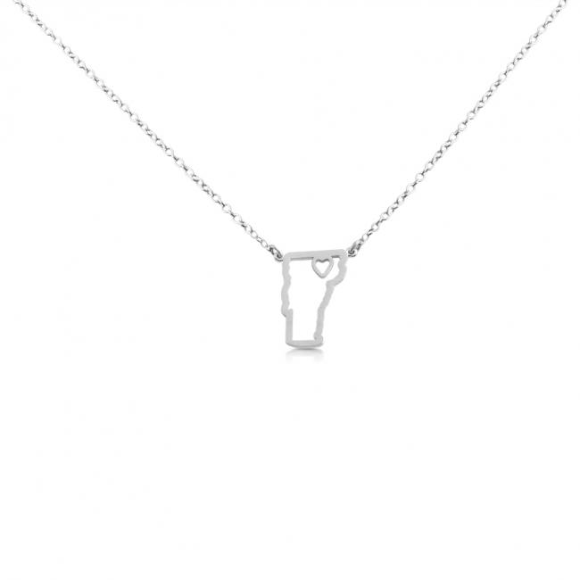 925 sterling silver necklace Vermont Home is Where The Heart Is State Necklace