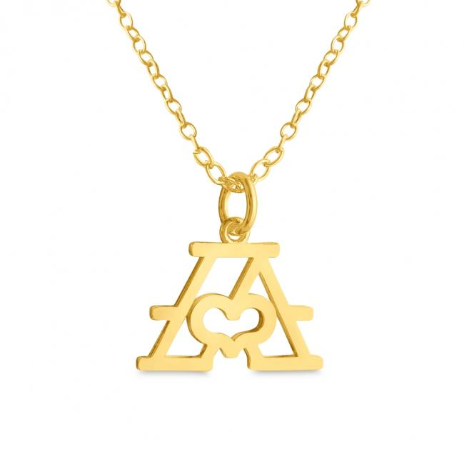 Gold plated necklace Initial Letter A with Heart