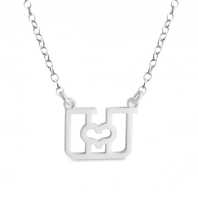 925 sterling silver necklace Initial Letter U with Heart Sideways