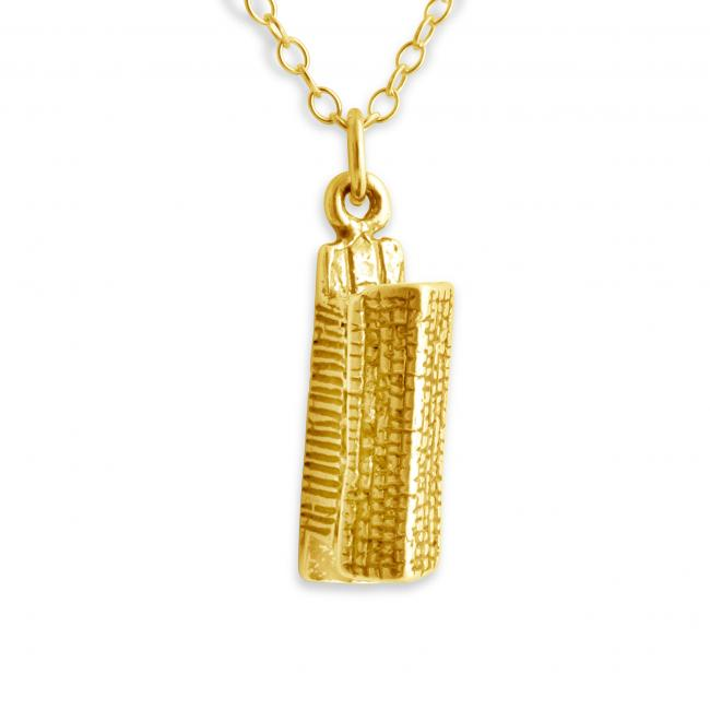 Gold plated necklace 3D Longhouse Native American