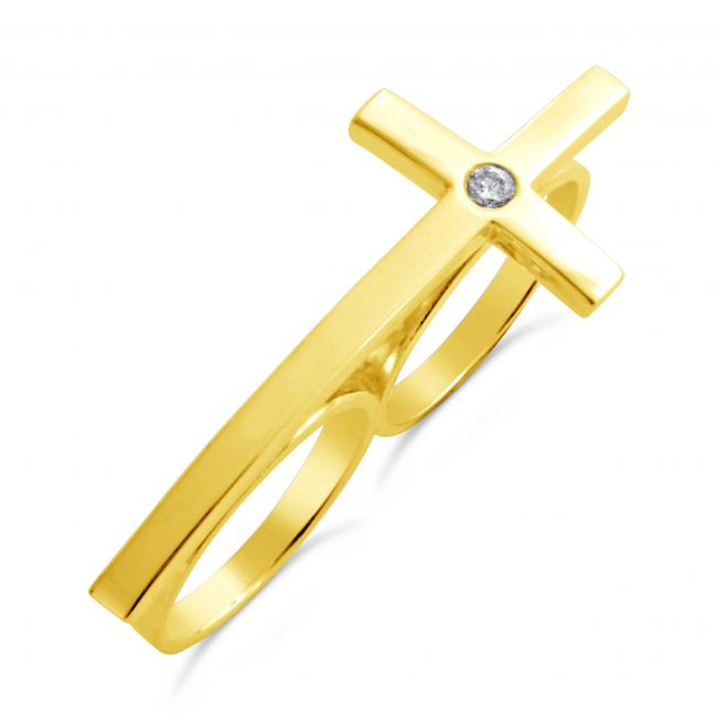 Gold plated ring Double Ringer Cross Ring w/ Diamond