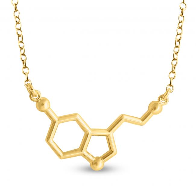 Gold plated necklace Serotonin Molecule Happy Hormone Chemical Structure