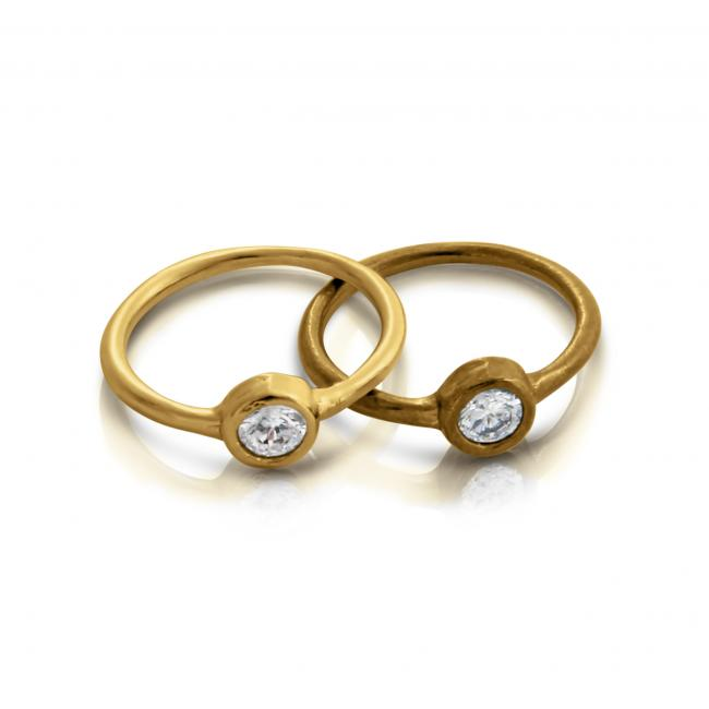 Gold plated ring Oxidized Stackable Ring w/ CZ