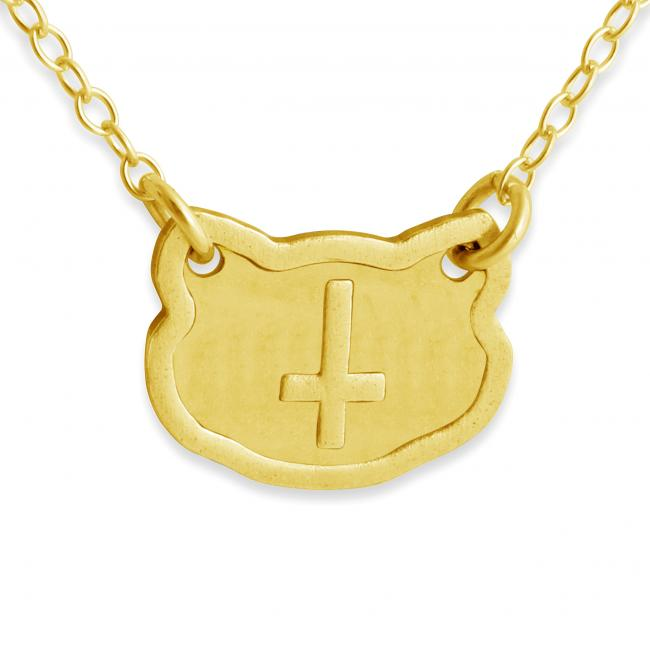 Gold plated necklace Feline Inverted Cross