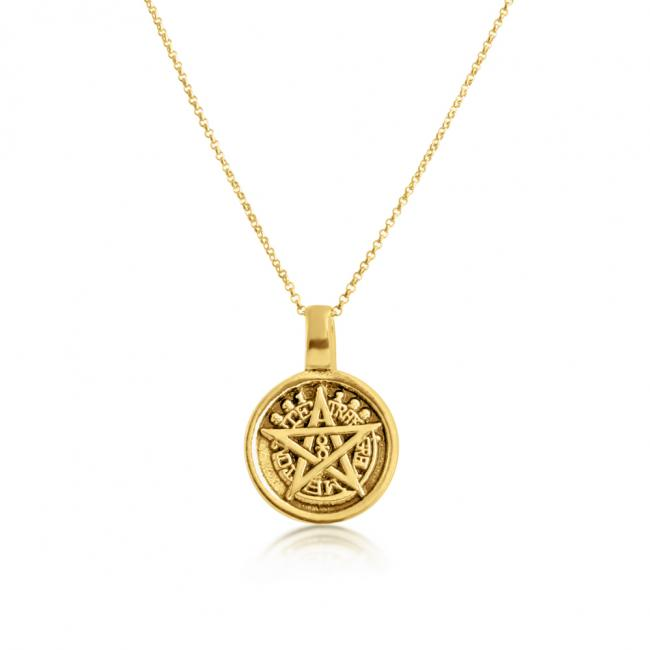 Gold plated necklace Pentagram 5-Sided Star Amulet