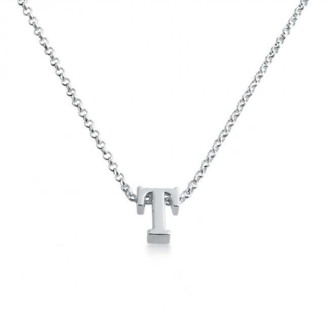 925 sterling silver necklace Initial Letter T Personalized Symbols & Letters Serif Font