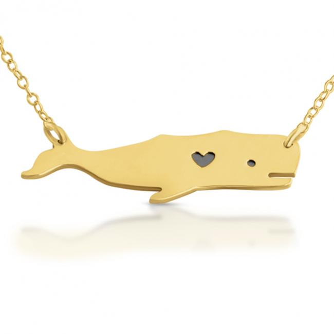 Gold plated necklace Love Whale