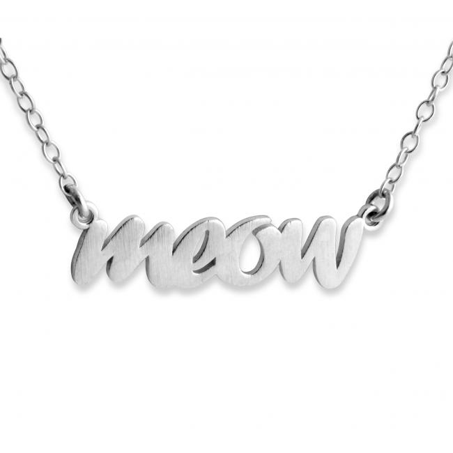 925 sterling silver necklace MEOW (Script Word)