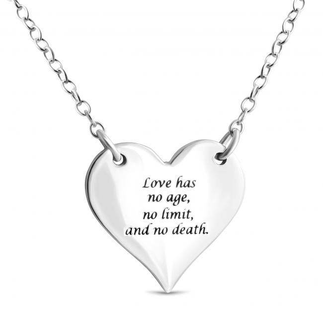 925 sterling silver necklace Solid Heart w/ Love Message Sideways