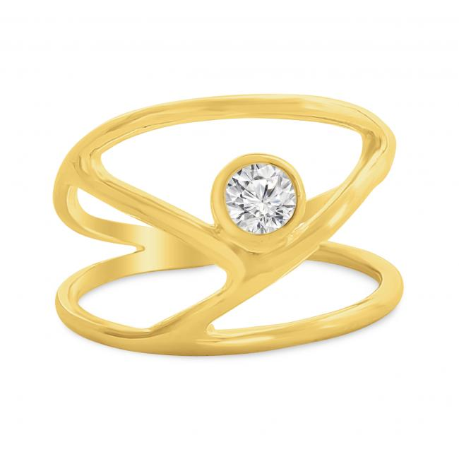 Gold plated ring Y-Shaped with CZ Double Band Ring