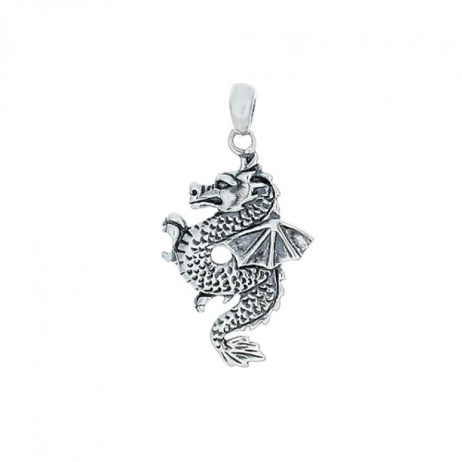 925 sterling silver necklace Chinese Dragon with Wings Zodiac Sign