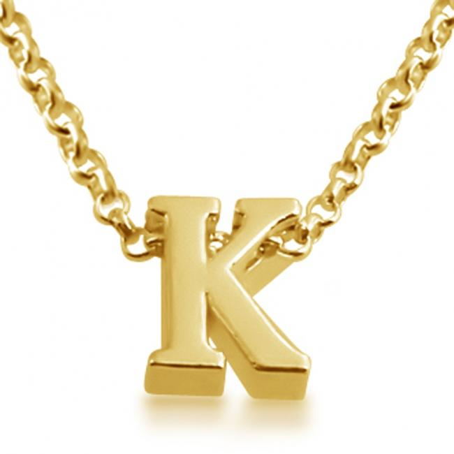 Gold plated necklace Initial Letter K Personalized Symbols & Letters Serif Font