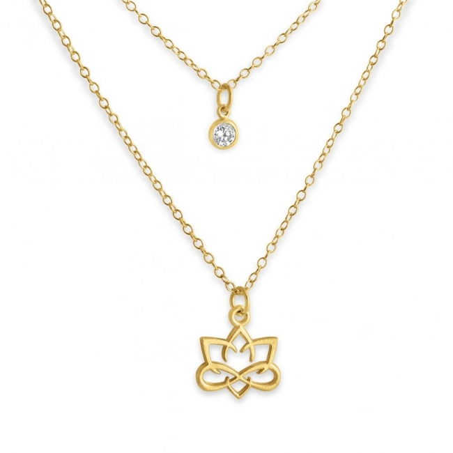 Gold plated necklace Outlined Small Lotus Flower and CZ w/ Double Chain