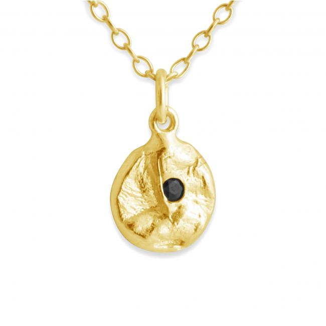 Gold plated necklace Circle w/ Faceted Black Onyx