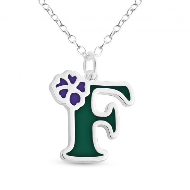 925 sterling silver necklace Colored Initial Letter F with Flower