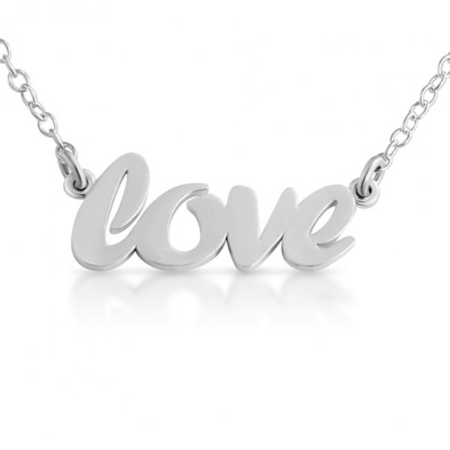 925 sterling silver necklace LOVE (Script Word)