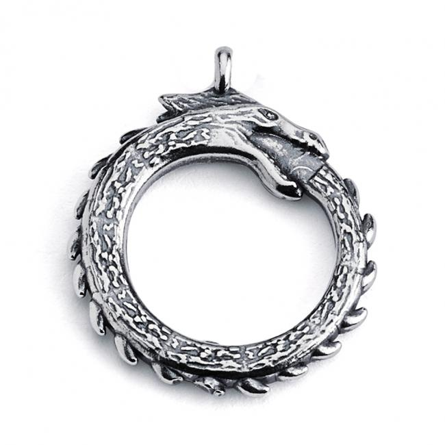925 sterling silver necklace Ouroboros Dragon Eating Tail Double Sided