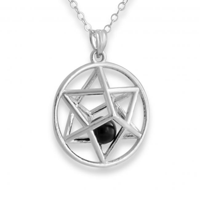 925 sterling silver necklace 3D Star of David w/ Synthetic Onyx Bead
