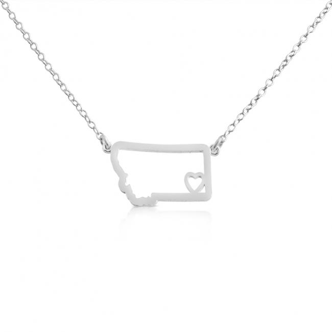 925 sterling silver necklace Montana Home is Where The Heart Is State Necklace