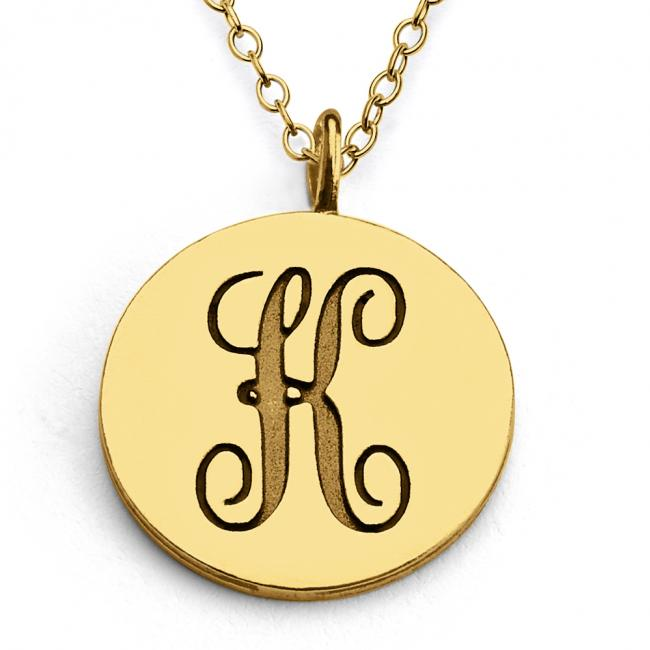 Gold plated necklace K Script Letters