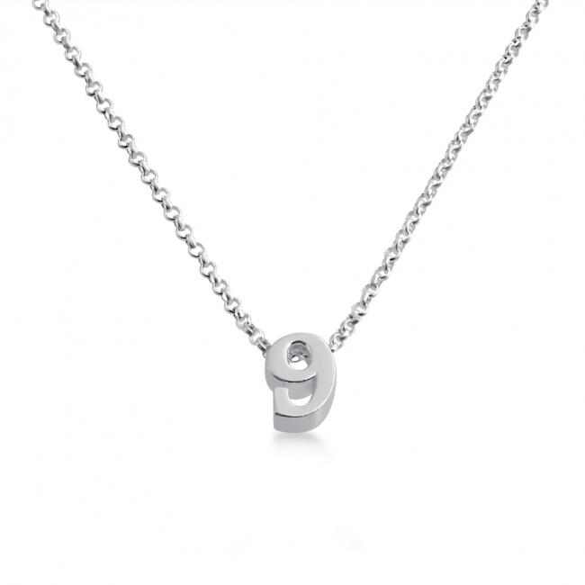 925 sterling silver necklace Initial Letter 9 Personalized Symbols & Letters Serif Font
