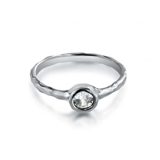 925 sterling silver ring Textured CZ Ring