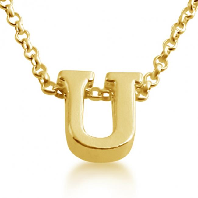 Gold plated necklace Initial Letter U Personalized Symbols & Letters Serif Font
