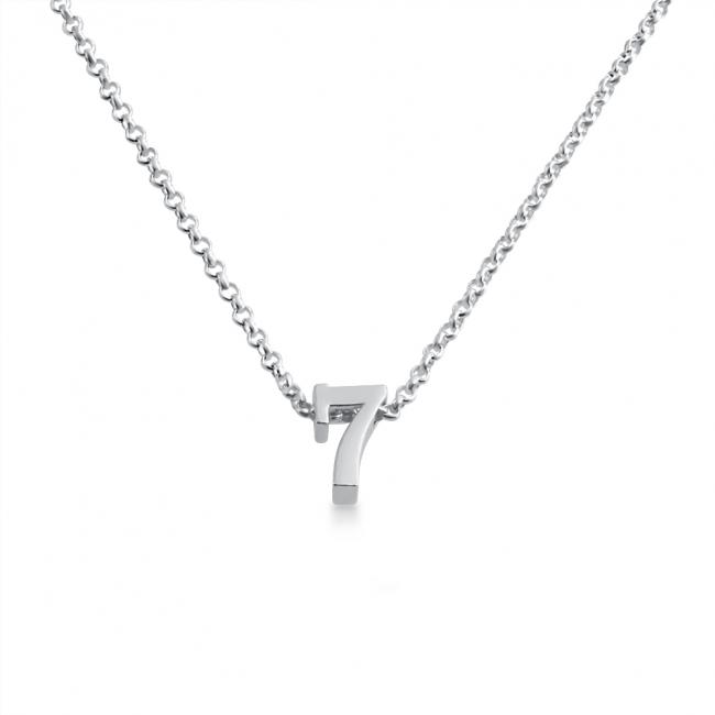 925 sterling silver necklace Initial Letter 7 Personalized Symbols & Letters Serif Font