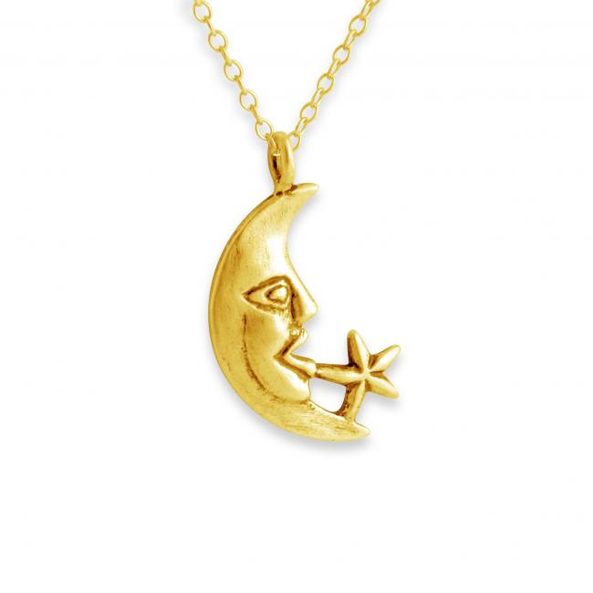 Gold plated necklace Moon Face & Star